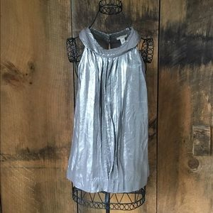 J.Crew Metallic Silver Sleeveless Top